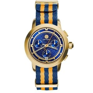 TORY BURCH Chronograph Watch Blue Orange TRB1020